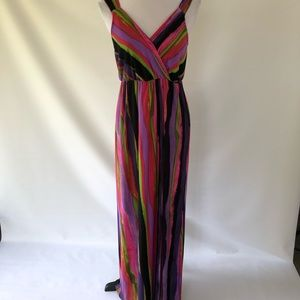 PETITE MED NEW DIRECTIONS MULTCOLORED MAXI DRESS